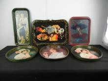 6 Vintage Coca-Cola Advertising Serving Trays including 1973 reproduction and others