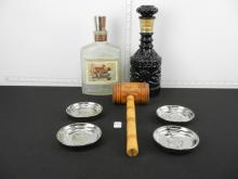 2 Jim Beam Decanters, Wooden Gavel and 4 Coasters