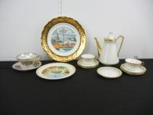Lot of Teapot, Tea Cups, Plate and Saucers Some Tea Cups Cracked