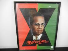 1991 Malcolm X Lithograph in Frame Approx. 21
