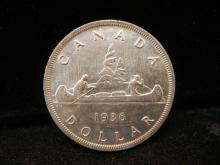 1936 Canadian Silver Dollar High Grade Key Date Only 339,600 Minted