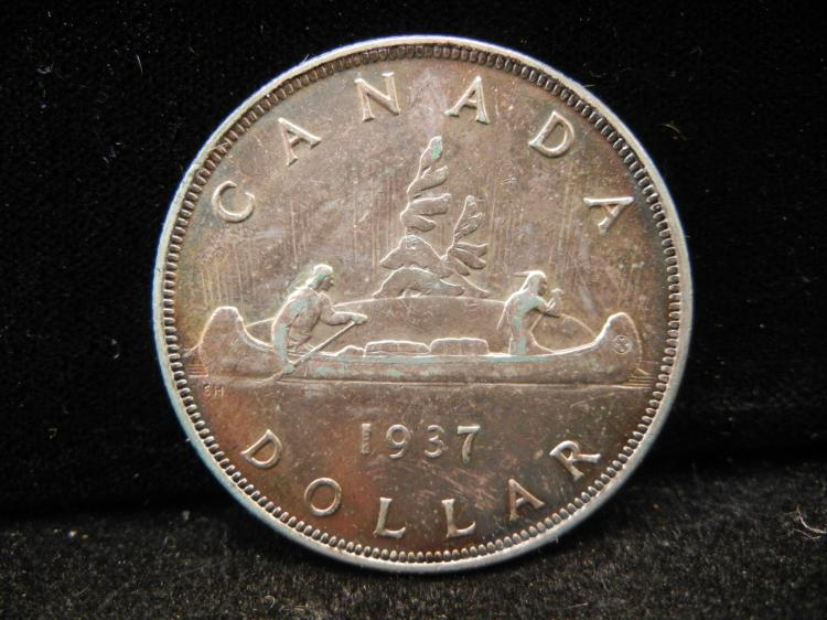 1937 Canadian Silver Dollar High Grade with Toning Key Date Only 207,406 Minted