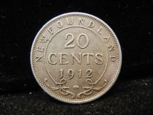1912 Newfoundland 20 Cents Silver 350,000 Minted