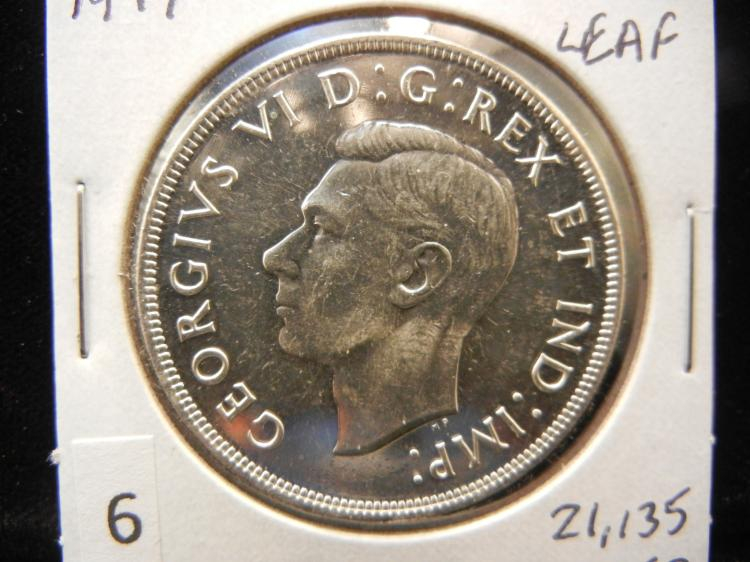 1947 Canadian Silver Dollar With Maple Leaf RARE Only 21,135 Minted Very High Grade