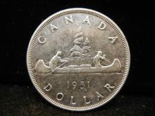 1951 Canadian Silver Dollar High Grade Only 416,395 Minted