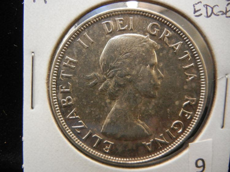 1953 Canadian Silver Dollar Wired Edge Variety