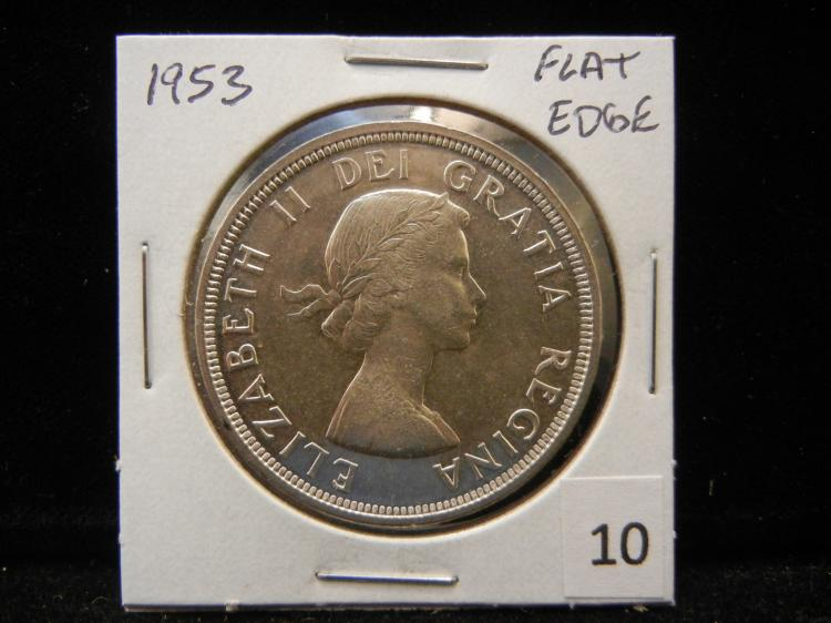 1953 Canadian Silver Dollar Flat Edge Variety
