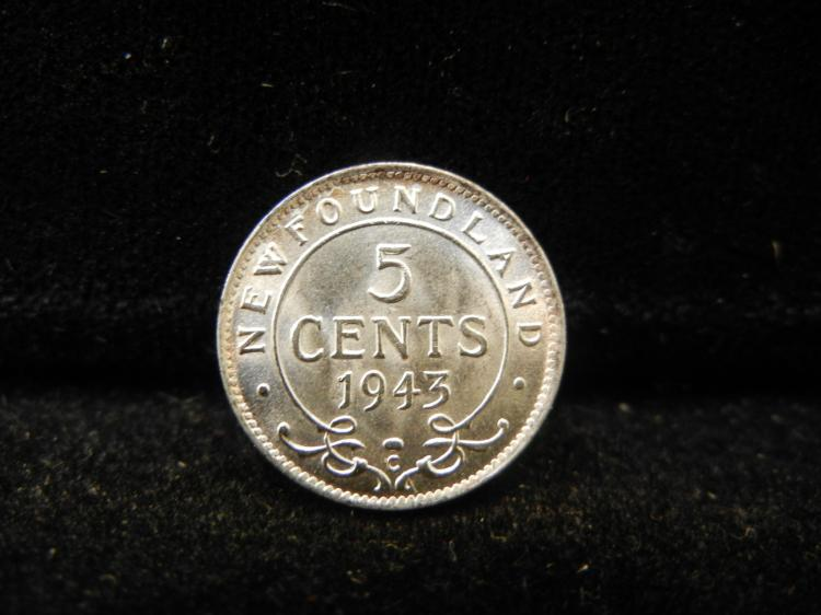 1943 C Newfoundland 5 Cents Silver 351,666 Minted