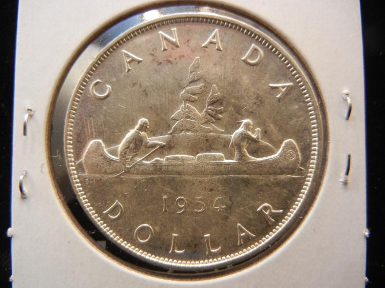 1954 Canadian Silver Dollar Key Date Only 246,606 Minted