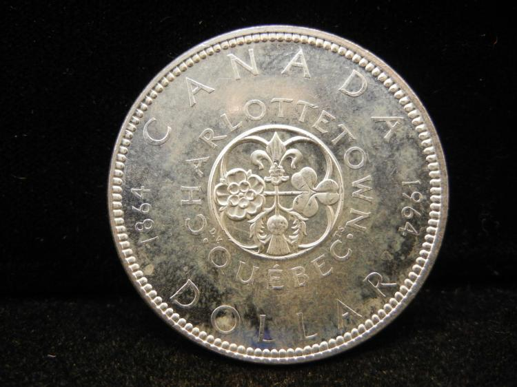 1964 Canadian Silver Dollar Charlottetown Quebec High Grade