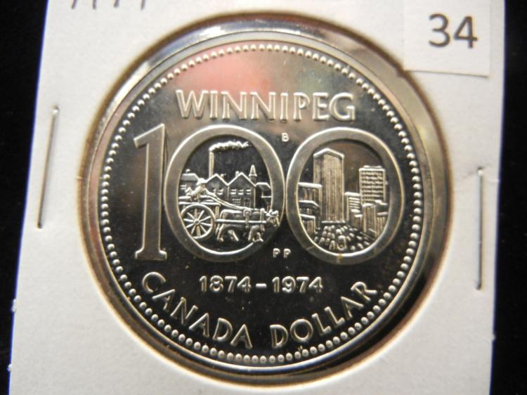 1974 Canadian Silver Dollar High Grade Winnipeg Silver