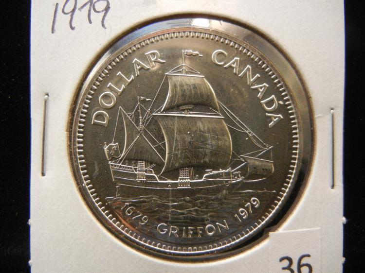 1979 Canadian Silver Dollar Very High Grade Looks Proof Griffon