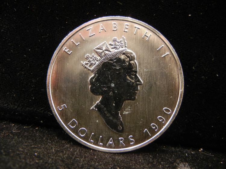 1990 Canadian $5 1OZ .999 Fine Silver