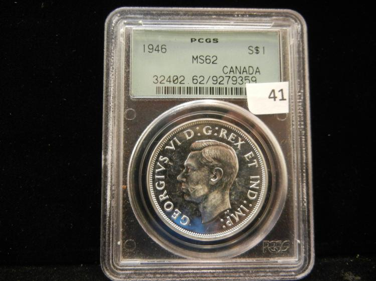1946 Canadian Silver Dollar PCGS MS62