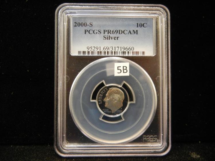 2000 S Roosevelt 90% Silver Dime PCGS PR69 DCAM