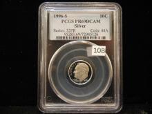 1996 S Roosevelt 90% Silver Dime PCGS PR69 DCAM