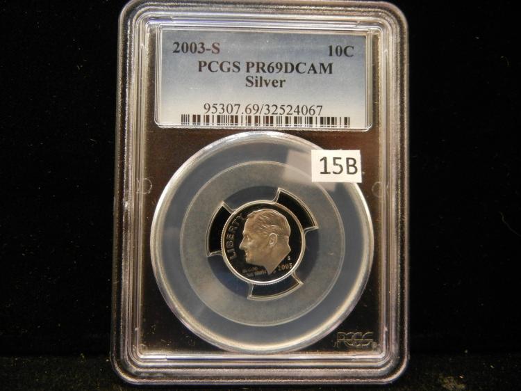 2003 S Roosevelt 90% Silver Dime PCGS PR69 DCAM