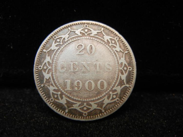 1900 Newfoundland 20 Cents Silver Rare 125,000 Minted