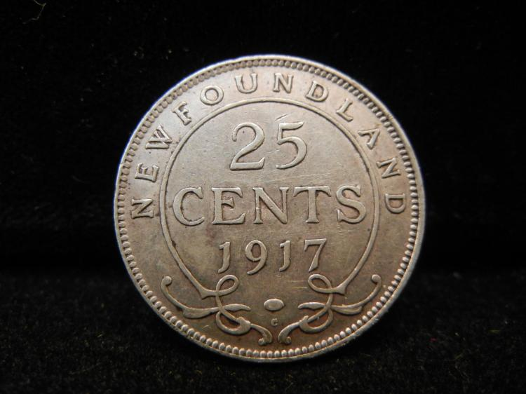 1917 Newfoundland 25 Cents Silver 464,779 Minted