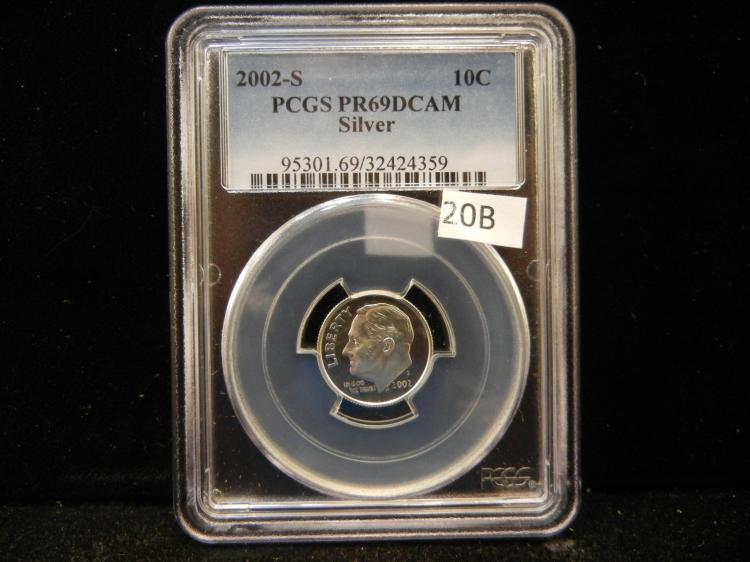 2002 S Roosevelt 90% Silver Dime PCGS PR60 DCAM