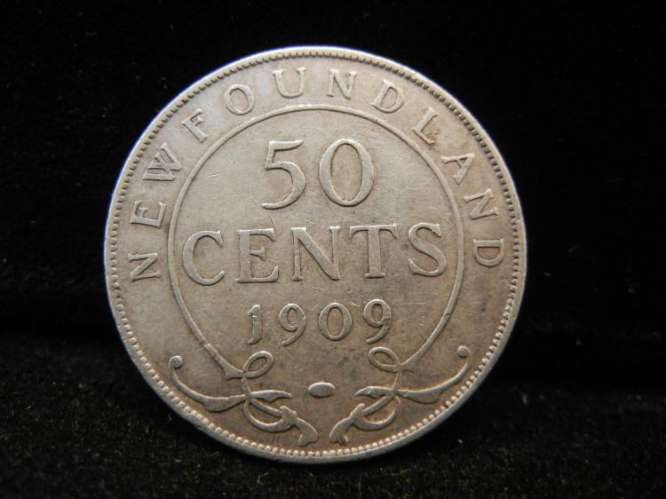 1909  Newfoundland 50 Cents Silver 2000,000 Minted
