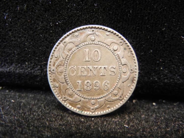 1896 Newfoundland 10 Cents Silver 230,000 Minted