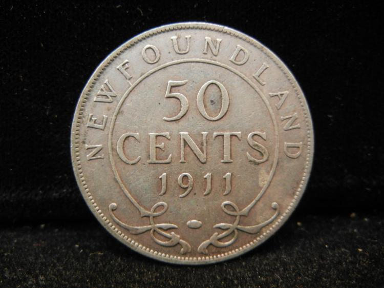 1911  Newfoundland 50 Cents Silver 200,000 Minted
