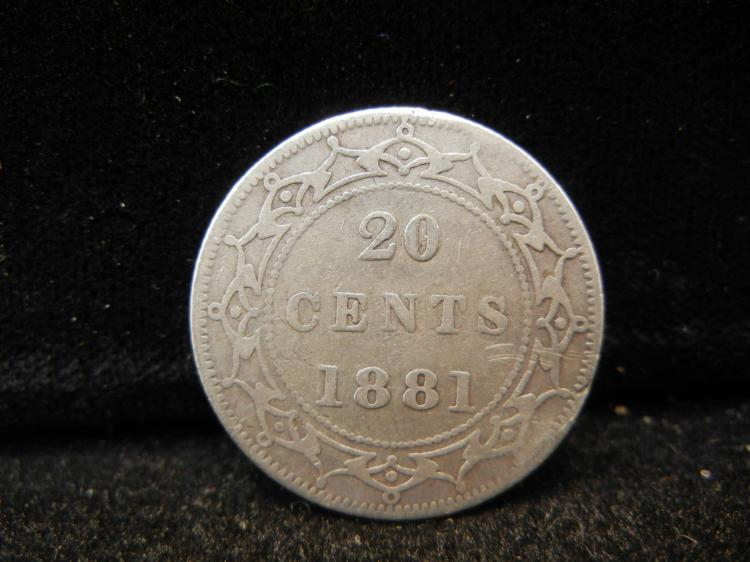 1881 Newfoundland 20 Cents Silver Rare 60,000 Minted