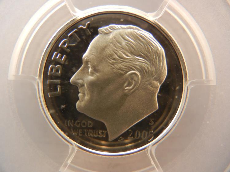 2005 S Roosevelt 90% Silver Dime PCGS PR69 DCAM