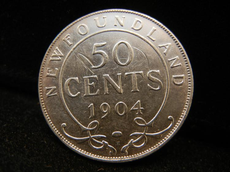 1904 H  Newfoundland 50 Cents Silver 140,000 Minted