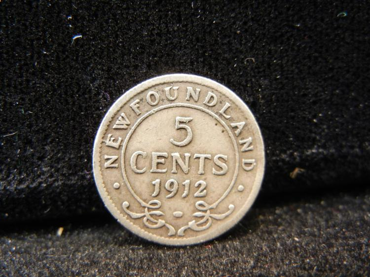 1912 Newfoundland 5 Cents Silver 300,000 Minted