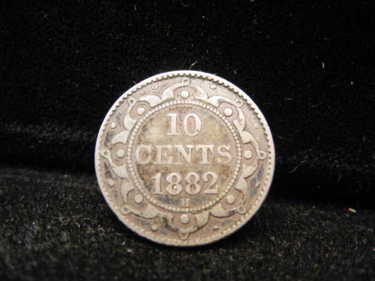 1882 H Newfoundland 10 Cents Silver Extremely Rare Only 20,000 Minted
