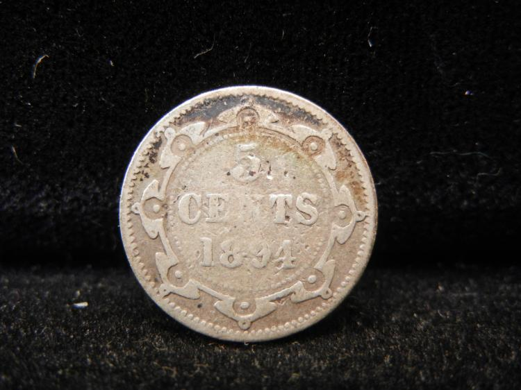 1894 Newfoundland 5 Cents Minted 160,000 Minted