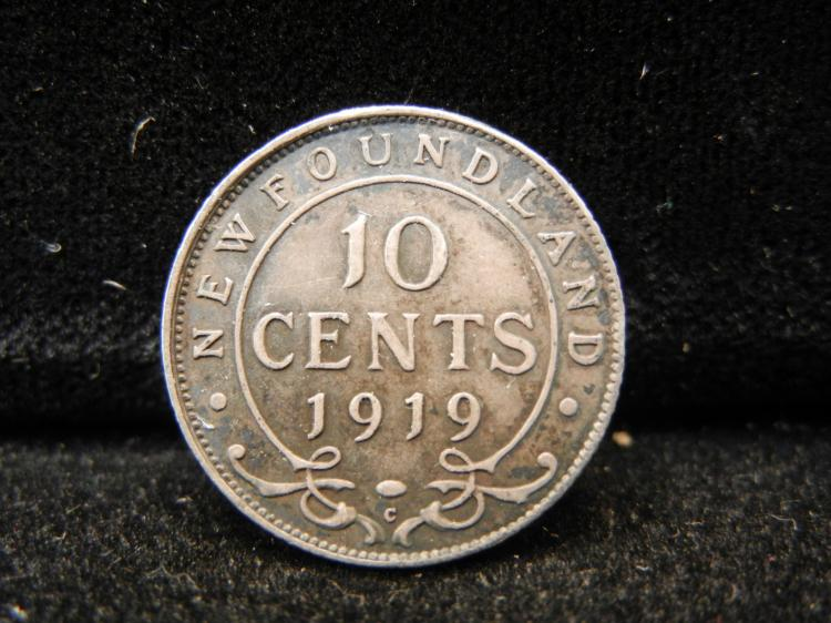 1919 C Newfoundland 10 Cents Silver Rare 54,342 Minted