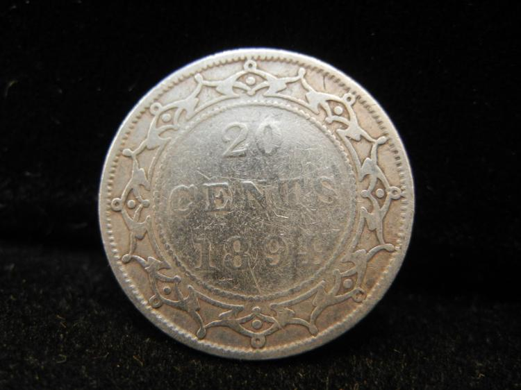 1894 Newfoundland 20 Cents Silver Rare 100,000 Minted
