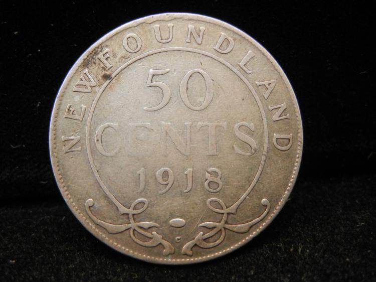 1918 C  Newfoundland 50 Cents Silver 294,824 Minted