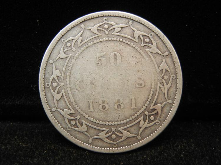 1881  Newfoundland 50 Cents Silver Rare only 50,000 Minted
