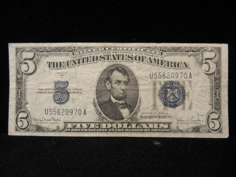 1934 Series D $5 Silver Certificate
