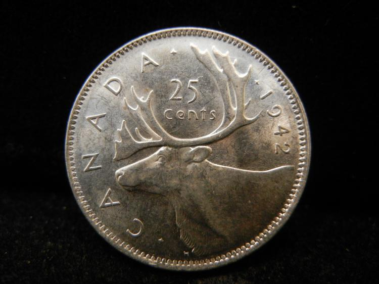 1942 Canadian 25 Cents