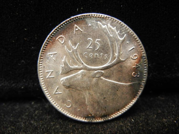 1943 Canadian 25 Cents