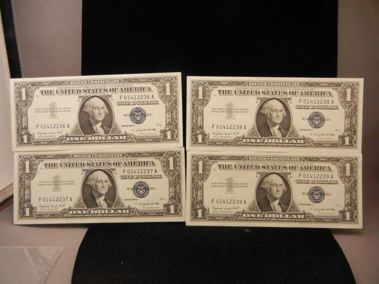 4 1957 Series A $1 Silver Certificates Consecutive Serial Numbers