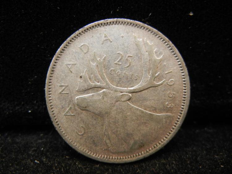 1953 Canadian 25 Cents with Shoulder Strap Variety