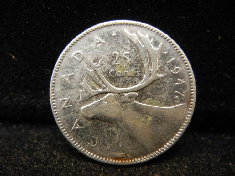 1947 with Maple Leaf Canadian 25 Cents