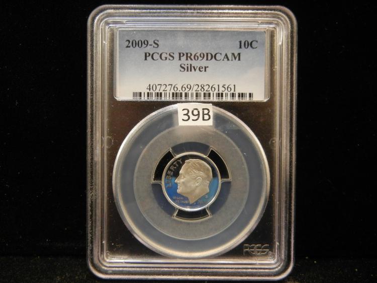 2009 S Roosevelt 90% Silver Dime PCGS PR69 DCAM