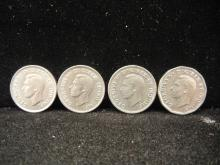 1937, 1940, 1942 & 1946 Canadian 5 Cents