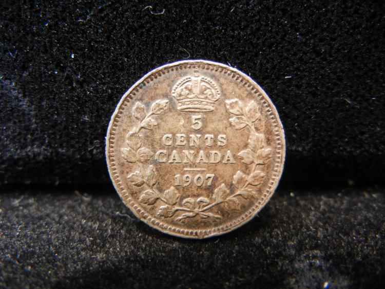 1907 Canadian 5 Cents Silver