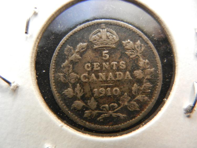 1910 Canadian 5 Cents Silver