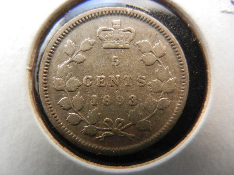 1893 Canadian 5 Cents Silver