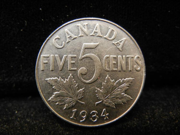 1934 Canadian 5 Cents