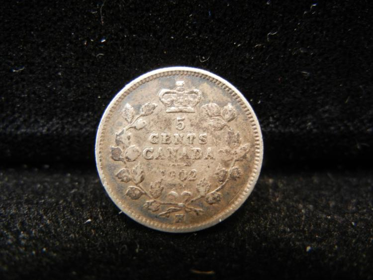 1902 H Canadian 5 Cents Silver